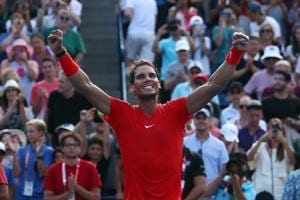 Rafael Nadal of Spain celebrates victory against Stefanos Tsitsipas of Greece during the final match on Day 7 of the Rogers Cup at Aviva Centre on August 12, 2018 in Toronto, Canada.