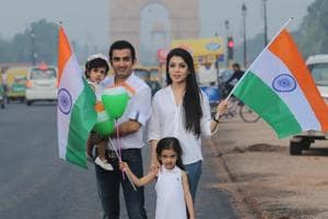 Cricketer Gautam Gambhir with wife Natasha, and daughters