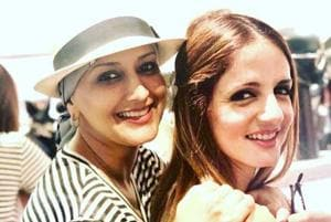 Sonali Bendre and Sussanne Khan are best friends and it shows on their smiling faces.