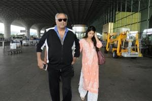 JanhviKapoor with daddy Boney Kapoor.