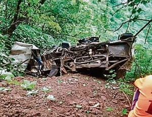 The mangled remains of the mini bus that fell into a 800ft gorge off Ambenali ghat in Maharashtra.