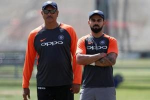 Indian cricket team head coach Ravi Shastri and Virat Kohli during nets.