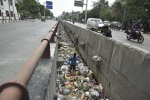 A drain full of garbage at Geeta Colony in East Delhi.  The capital did not fare well in terms of municipal solid waste collection in the Ease of Living Index.