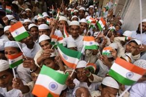 File photo of students of a madarsa in Noida celebrating Independence Day last year.