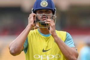 India A cricket captain Shreyas Iyer during a practice session ahead of the first test match against South Africa A, at Chinnaswamy Stadium in Bengaluru.