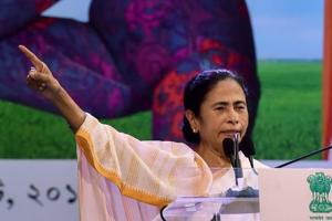 West Bengal Chief Minister Mamata Banerjee addresses a crowd in Kolkata.