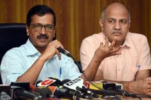 Delhi chief minister Arvind Kejriwal and deputy chief minister Manish Sisodia at a recent press conference in New Delhi.