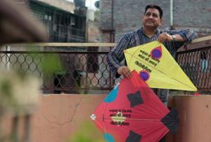 Kites with the hashtag #NotInMyName and other slogans promoting communal harmony and peace.