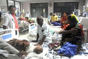 An inside view of a ward of BRD Hospital in Gorakhpur , India,