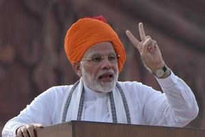 Prime Minister Narendra Modi while delivering his speech during the celebration of the Independence Day, at the Red Fort in New Delhi.
