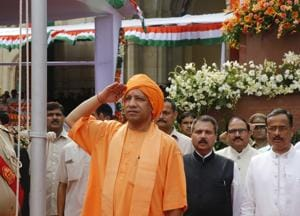 Uttar Pradesh chief minister Yogi Adityanath salutes during Independence Day celebrations in Lucknow.