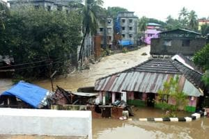 A view of Indrani Nagar in Palakkad, Kerala. Kerala continued to reel under flood fury on Wednesday as surging waters led to the Cochin international airport being shut till Saturday.
