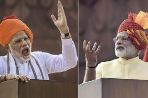 Prime Minister Narendra Modi in different turbans at his last Independence Day addresses from the historic Red Fort in New Delhi.