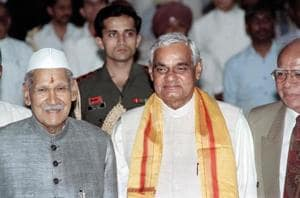 This file photo taken on May 16, 1996 shows then Prime Minister Atal Bihari Vajpayee with President Shankar Dayal Sharma after Vajpayee took the oath of office from Sharma as India
