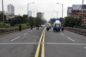 Accident spots at Flyover at lower Parel in Mumbai, India.