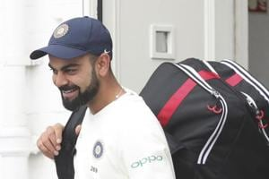 India captain Virat Kohli arrives for a nets session ahead of the third Test Match between England and India at Trent Bridge in Nottingham.