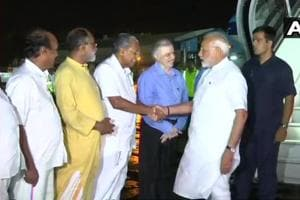 PM Modi arrived in Kerala on Friday night. He was received by chief minister Pinarayi Vijayan, Governor P Sathasivam and Union minister KJ Alphons.