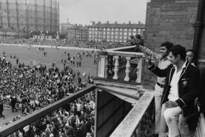 24th August 1971: Indian skipper Ajit Wadekar and teammate B S Chandraserhar wave to cheering crowds at the Oval after India won the Test Series against England.