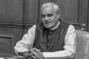 In this file photo dated May 19, 1996, former prime minister Atal Bihari Vajpayee addresses the nation at South Block, in New Delhi.