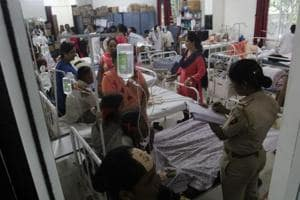 Some of the students who fell ill undergo treatment in Mulund, Mumbai on Thursday.