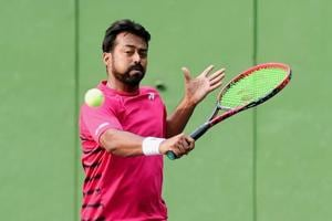 File photo of Leander Paes during a practice session ahead of the Davis Cup tie against Uzbekistan.