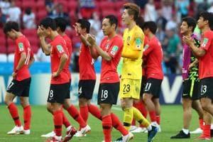 Soccer Football - World Cup - Group F - South Korea vs Germany - Kazan Arena, Kazan, Russia - June 27, 2018 South Korea players react after the match REUTERS/Pilar Olivares