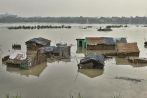 A view of submerged temporary houses after Yamuna River water level rose in New Delhi, India.