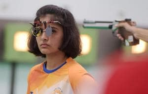 Indian shooter Manu Bhaker competes in the 10m air pistol qualification round in Palembang on Sunday.
