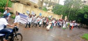 Students march on Independence Day to spread awareness about polluted water bodies in Bhiwandi.