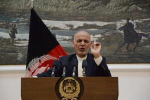 Afghan president Ashraf Ghani speaks during a press conference at Presidential Palace in Kabul on June 30.