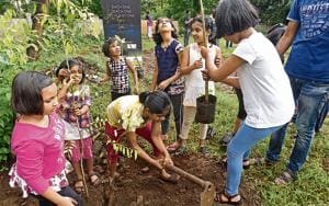 Residents of Crystal Castle society during the tree plantation drive on Sunday.