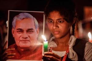 Students participate in a candlelight vigil to pay tribute to former Prime Minister Atal Bihari Vajpayee in Chennai, August.16