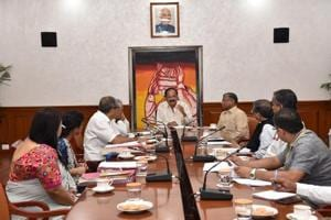 Vice president  Venkaiah Naidu attends a review meeting on the Kerala flood situation on August 20.