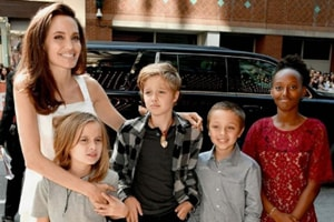 Angelina Jolie spotted with her kids in Toronto.