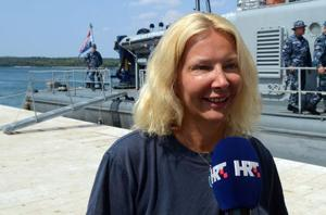 British tourist Kay Longstaff speaks to the press upon her arrival in Pula with the Croatia's coast guard ship.