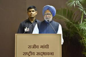 NFormer Prime Minister Manmohan Singh addresses the Rajiv Gandhi National Sadbhavana Award on the occasion of former Prime Minister Rajiv Gandhi's 74th birth anniversary at Jawahar Bhawan in New Delhi, on Monday.