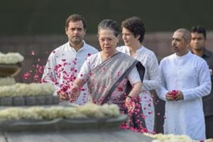 UPA chairperson Sonia Gandhi pays tributes to late prime minister Rajiv Gandhi on his birth anniversary at Veer Bhumi in New Delhi on Monday as daughter Priyanka Vadra, son-in-law Robert Vadra and Congress president Rahul Gandhi look on.