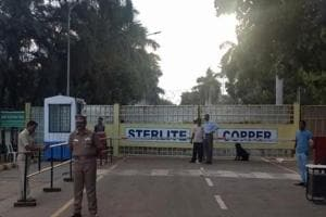 Police outside a copper smelter controlled by London-listed Vedanta Resources in Thoothukudi in Tamil Nadu.
