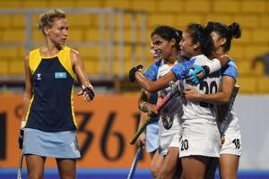 India players celebrate after scoring a goal during the women