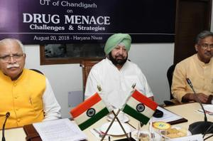Haryana CM Manohar Lal Khattar, Punjab CM Captain Amarinder Singh and Uttrakhand CM Trivendra Singh Rawat during regional conference on drug menace in Chandigarh on Monday, 20 August 2018
