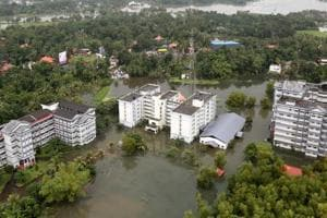 An aerial view shows partially submerged buildings at a flooded area in Kerala.
