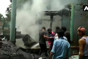 Fire breaks out at an AC plant of Doordarshan Bhawan at Mandi House on Wednesday.