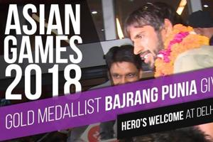 Gold medallist Bajrang Punia given a hero's welcome at Delhi airport