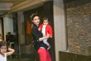 Soha Ali Khan was spotted with her daughter Inaaya in Mumbai on Tuesday.