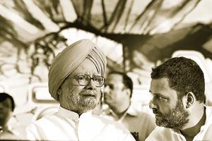 Congress president Rahul Gandhi with former prime minister Manmohan Singh during a  protest in New Delhi, August, 2017.