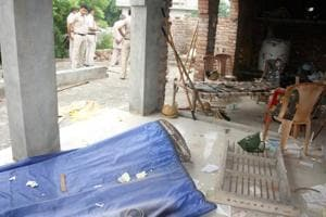 Police personnel were deployed at the namaz ghar of Titoli village in Rohtak after it was vandalised by a mob on Wednesday, August 22, 2018.