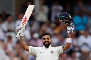 Virat Kohli celebrates after scoring a century in the second innings of the Trent Bridge Test.