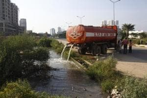 Residents said waste water collected from three societies is drained outside these spaces and it happens frequently.