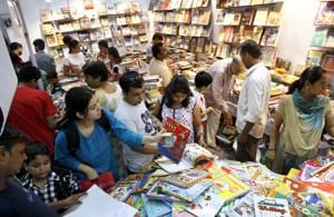 Visitors browse though books at a previous edition of Delhi Book Fair in the Capital.