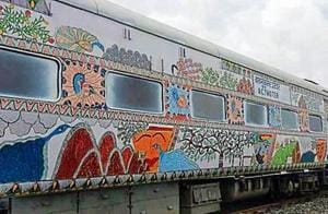The new look Bihar Sampark Kranti Superfast Express at Darbhanga railway station before being flagged off on Thursday.